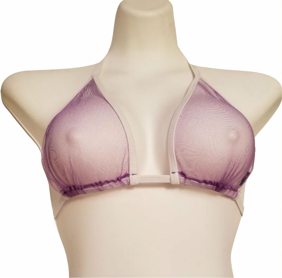 Susan Sexy Purple Sheer Bathing Suit Top See-Through Dancewear Stripper Bikini Top